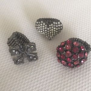 Trio Of Stretchy Costume Rings One Size